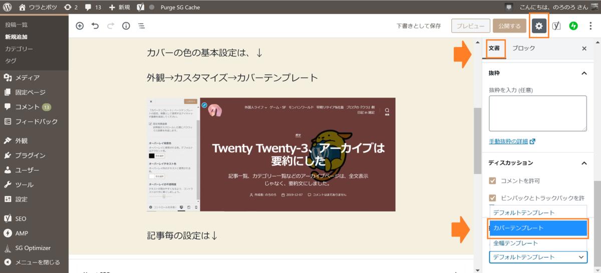 Twenty Twenty、カバーフィルター、記事設定